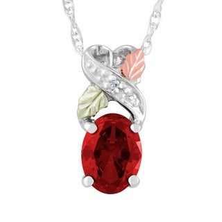Black Hills Gold and Silver Created Ruby Necklace