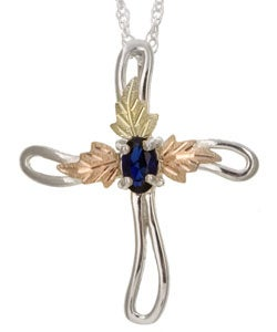Black Hills Gold and Silver Sapphire Cross Necklace