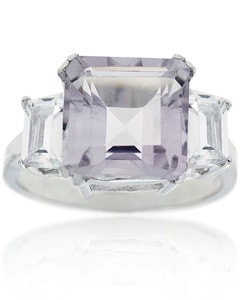 Glitzy Rocks Sterling Silver Rose de France and CZ Ring