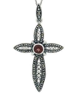 Glitzy Rocks Sterling Silver Garnet and Marcasite Cross Necklace