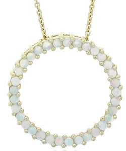 Glitzy Rocks 18k Gold Overlay Created Opal Circle Necklace