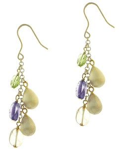 Glitzy Rocks 18k Gold Overlay Multi Gemstone Dangle Earrings