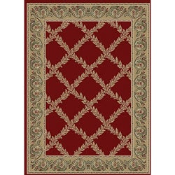 Transitional Red Vine Rug (2'7 x 4'1 Oval)