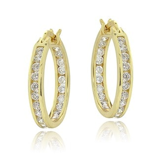Icz Stonez 18k Gold overlay Cubic Zirconia Hoop Earrings