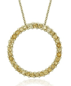 Glitzy Rocks 18k Gold Overlay Citrine Circle Necklace