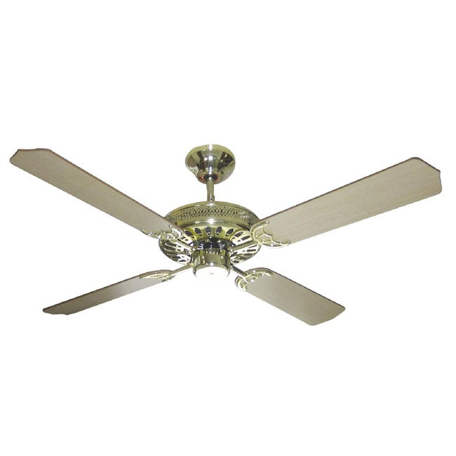 Overstock.com Polished Brass Finish 52-inch Ceiling Fan