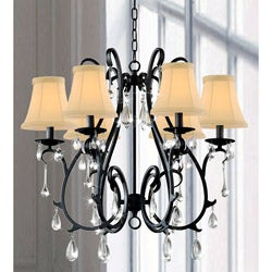 6 Light Curved Iron and Crystal Chandelier
