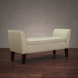 Drake Creme Leather Bench