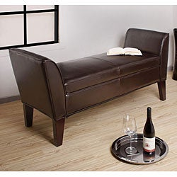 Drake Dark Brown Leather Bench