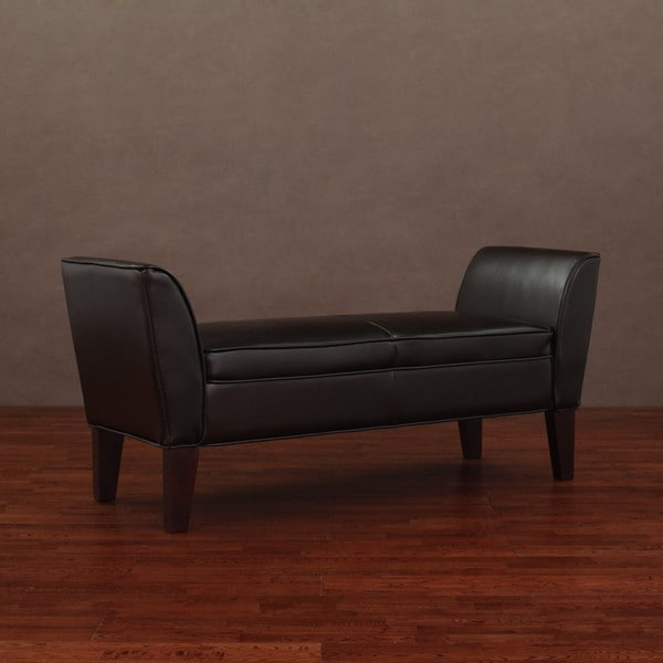 Add Understated Yet Functional Seating To Your Home With This Brown Leather Accent Bench With