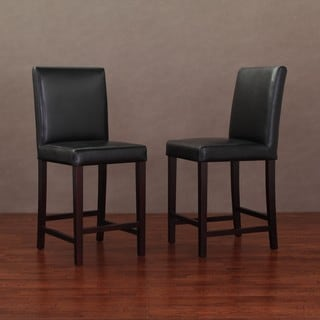 Andre Black Leather Counter Stools (Set of 2)