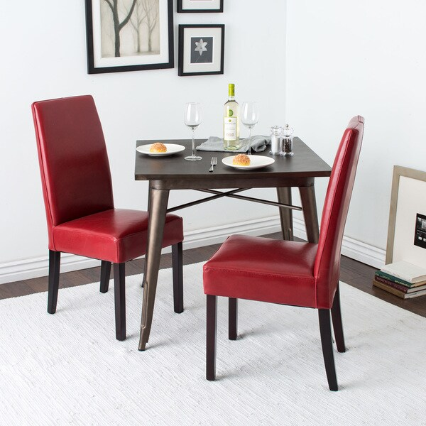 Leather Dining Chairs Burnt Red (Set of 2)