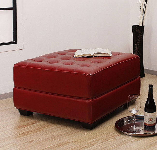 Overstock.com Button-tufted Burnt Red Leather Ottoman at Sears.com