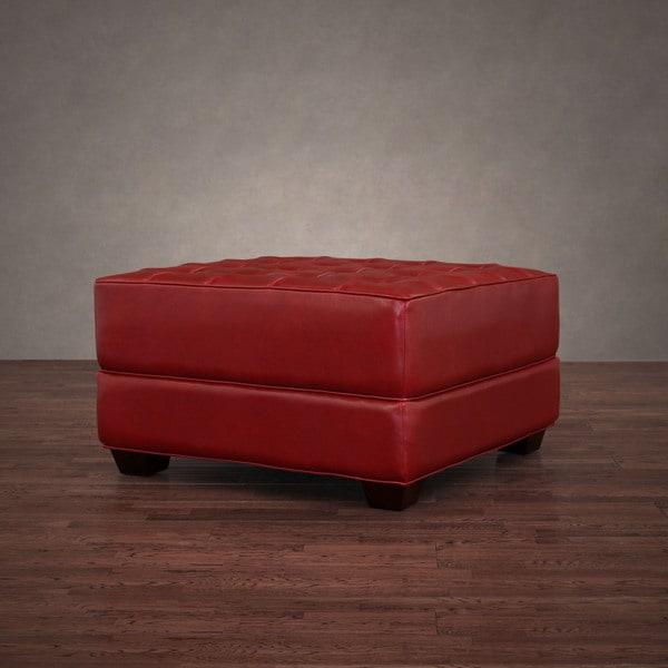 Button-tufted Burnt Red Leather Ottoman
