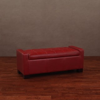 Tufted Burnt Red Leather Storage Bench
