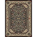 Black Floral Traditional Rug (2'7 x 4'1 Oval)