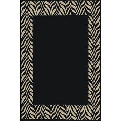 Black Zebra Transitional Rug (7'10 x 10'10)