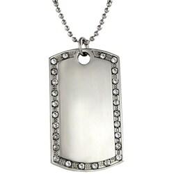Silverplated Fashion Rhinestone Dog Tag Necklace