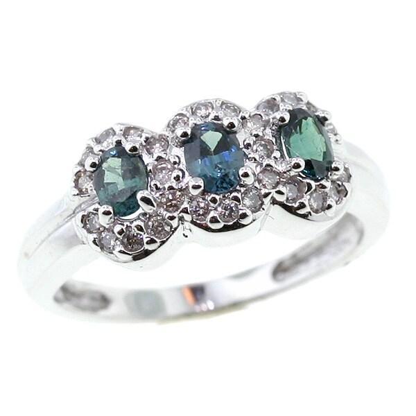 Michael Valitutti 18k Color Change Garnet and Diamond Ring