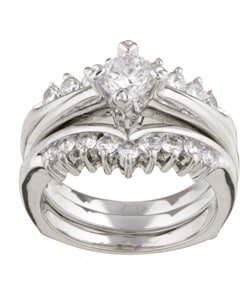 Sterling Essentials Sterling Silver CZ Two-piece Engagement Ring