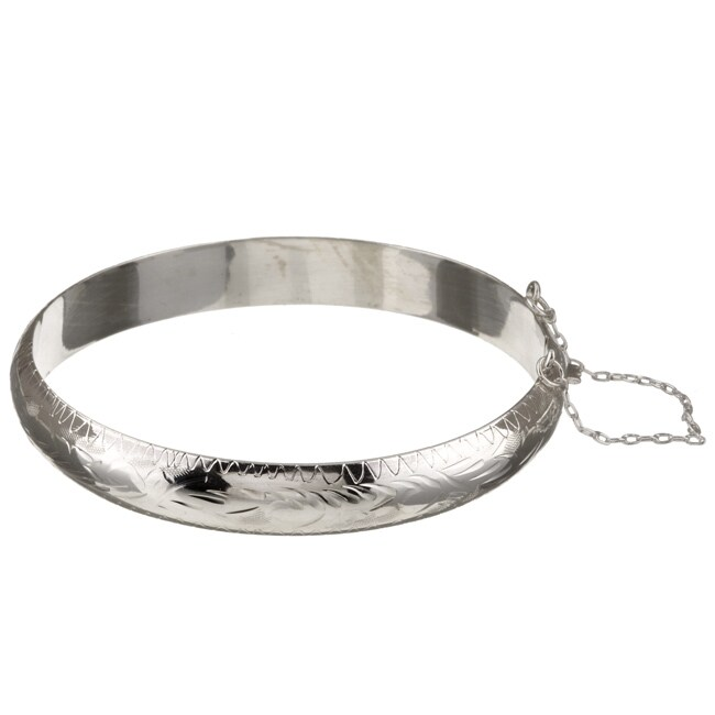 Sterling Essentials Sterling Silver 7-inch Engraved Bangle (9mm)