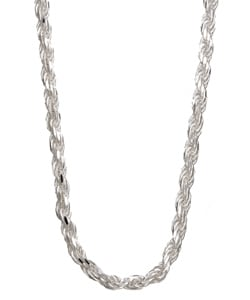 Sterling Essentials Sterling Silver 20-inch Diamond-Cut Rope Chain (2.5mm)