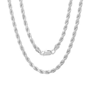 Sterling Essentials Sterling Silver 24-inch Diamond-Cut Rope Chain (2.5mm)