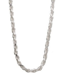 Sterling Essentials Sterling Silver 30-inch Diamond-Cut Rope Chain (2.5mm)