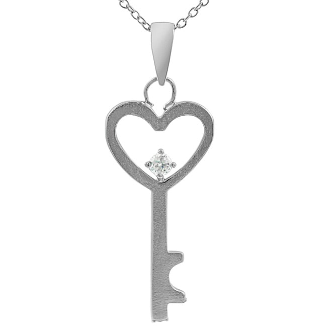 Journee Collection Sterling Silver Heart/ Key Necklace