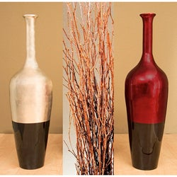 Lacquered Floor Vase with Birch Branches