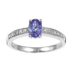 Miadora 10k White Gold Tanzanite and Diamond Accent Ring