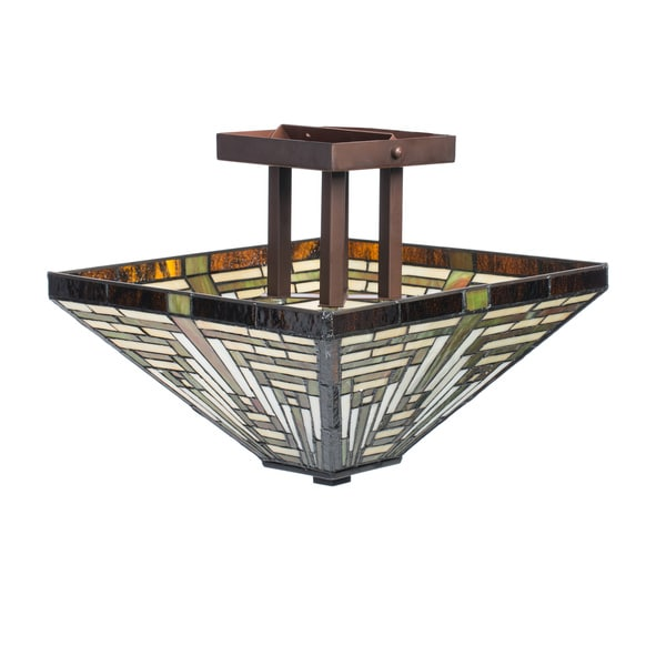 Tiffany-style Frank Lloyd Wright Mission Ceiling Lamp
