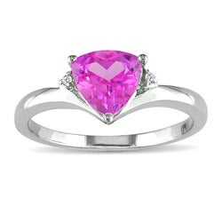 Miadora 10k White Gold Created Pink Sapphire and Diamond Ring