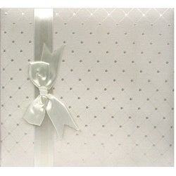 Pioneer Ivory Diamond Fabric with Ribbon Trim Cover 8x8 Memorybook with 40 Bonus Pages
