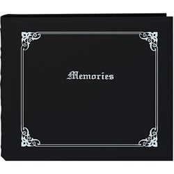 'Memories' 12x12 Black Memory Book Binder with 40 Bonus Pages