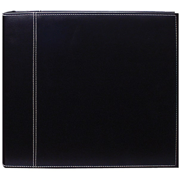 Black Leatherette 12x12 Memory Book Binder with 40 Bonus Pages