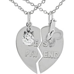 Tressa Sterling Silver 2-piece 'Best Friend' Necklace