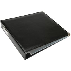 "Black Faux Leather 12"" x 12"" Three-Ring Binder"