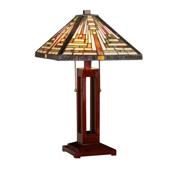 tiffany style geo hex mission table lamp. Black Bedroom Furniture Sets. Home Design Ideas