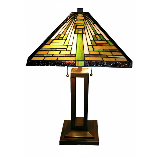 tiffany style mission table lamp overstock shopping great deals on. Black Bedroom Furniture Sets. Home Design Ideas