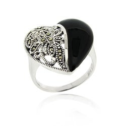 Glitzy Rocks Sterling Silver Marcasite and Onyx Heart Ring
