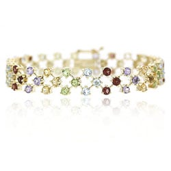 Glitzy Rocks 18k Gold over Sterling Silver Gemstone Bracelet
