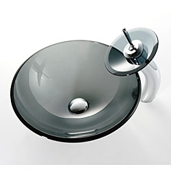 Kraus Black Vessel Sink and Waterfall Bathroom Faucet