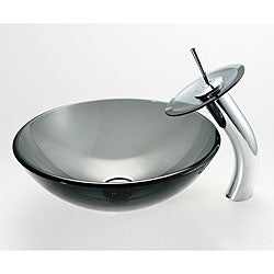 Kraus Clear Black Vessel Sink and Waterfall Faucet