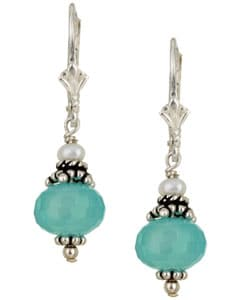 Charming Life Silver Chalcedony Quartz and Pearl Drop Earrings