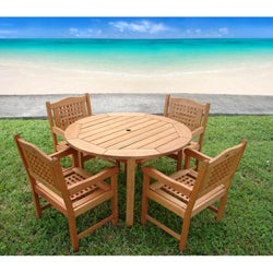 Miramar 5-piece Wood Patio Set