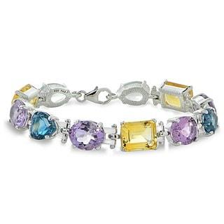 Glitzy Rocks Sterling Silver Multi-gemstone Bracelet