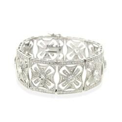 Icz Stonez Sterling Silver Deco Star Cubic Zirconia Bracelet