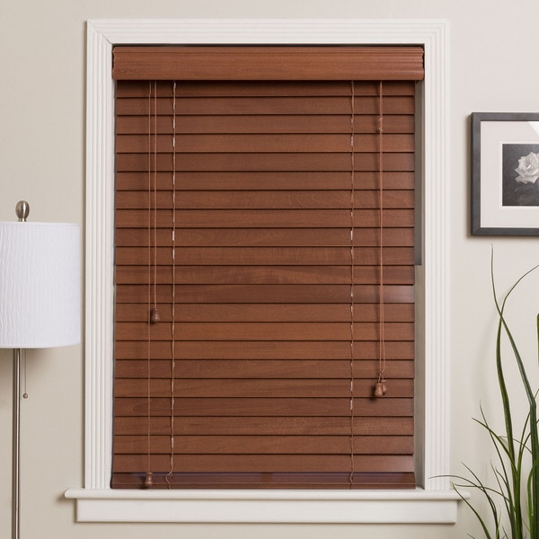 Customized 34.625-inch Real Wood Window Blinds