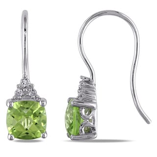 Miadora 10k White Gold Peridot and Diamond Accent Earrings
